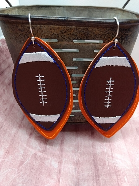 Football Earrings, 2 layers (colors) Embroidery Design